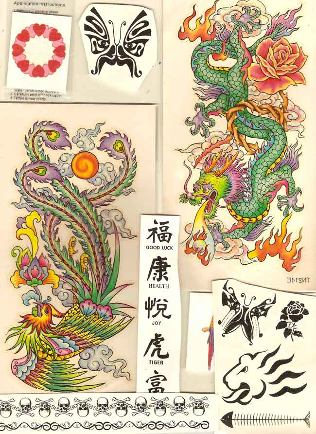 "ADULT/TEEN TATTOO SAMPLES: Tribal, Chinese Character, Navel, Hearts, Flowers, Masks, ""Yakuza"" Dragon-Phoenix-Panther, and many more"